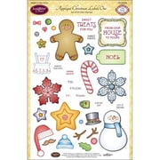 """Justrite® Papercraft 6"""" x 8"""" Clear Stamp Set, Applique Christmas Labels One"""