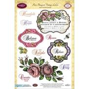 "Justrite® Papercraft 6"" x 8"" Clear Stamp Set, Rose Bouquet Vintage Labels Seven"