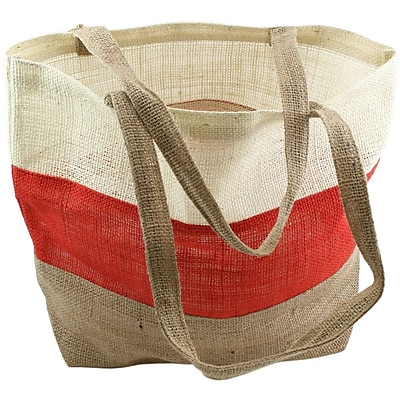 """""Kel-Toy Burlap Bag, 17 1/2"""""""" x 13"""""""" x 5 1/2"""""""", Ivory/Red/Natural"""""" 1197619"