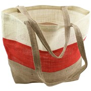 "Kel-Toy Burlap Bag, 17 1/2"" x 13"" x 5 1/2"", Ivory/Red/Natural"
