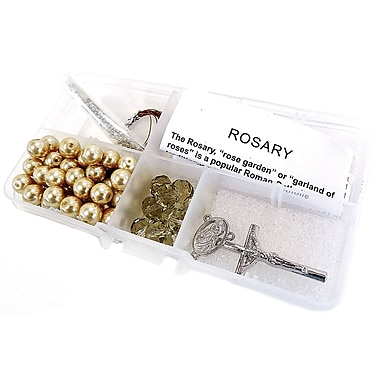 Linpeng International Crystal & Pearl Rosary Bead Kit, Smoky Crystal Beads/Golden Pearls