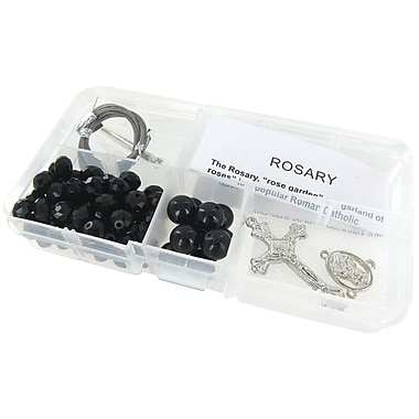 Linpeng International Crystal & Pearl Rosary Bead Kit, Black Crystal Beads/Black Pearls
