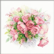 """Riolis® 11 3/4"""" x 11 3/4"""" Counted Cross Stitch Kit, Watercolor Roses"""