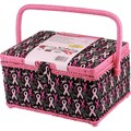 Singer® 10 1/2in. x 6in. x 7 1/2in. Sewing Basket, Pink Ribbons