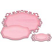 """Spellbinders S2099 Pink Shape abilities Fancy Label Tags D-Lites Die Template, 3.5"""" x 2.13"""""""