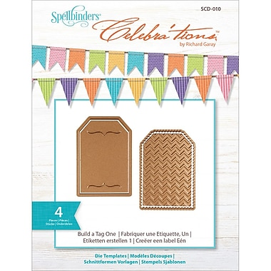 Spellbinders SCD010 Brown Celebra'tions Cutting Die Template Build-A-Tag One