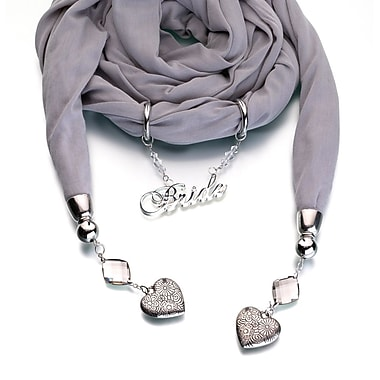 Lillian Rose™ Bride Scarf With Charms, Gray