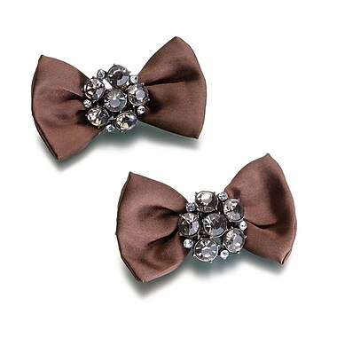 Lillian Rose™ Jeweled Bow-Rhinestone Decoration, Brown, 2/Set