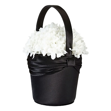 Lillian Rose™ Satin Sash Flower Basket, Black