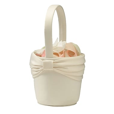 Lillian Rose™ Satin Sash Flower Basket, Ivory
