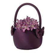"Lillian Rose™ 7"" Satin Flower Basket, Plum Purple"