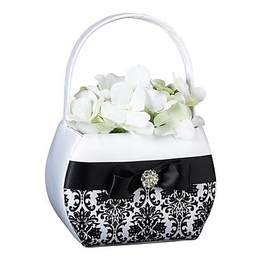 Lillian Rose™ Damask Satin Flower Basket, Black