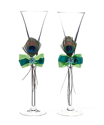 Lillian Rose Peacock Feather Toasting Glasses 1173509
