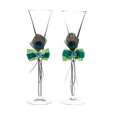 Lillian Rose™ Peacock Feather Toasting Glasses