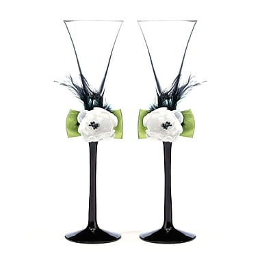 Lillian Rose™ Toasting Glasses, Green/Black, 2/Set