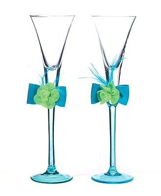 Lillian Rose Toasting Glasses, Blue/Green, 2/Set 1173487