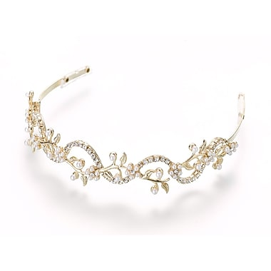 Lillian Rose™ Pearl/Rhinestone Wedding Tiara, Gold