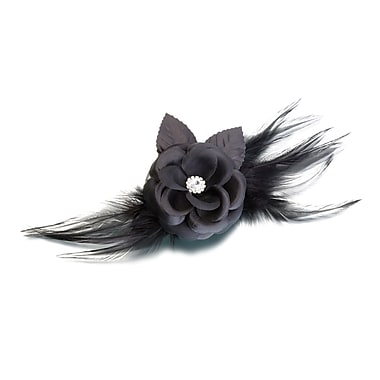 Lillian Rose™ Flower and Feather Clip/Pin, Black