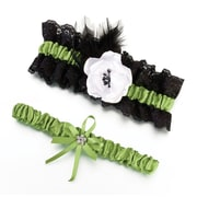 Lillian Rose™ Garter Set, Green/Black