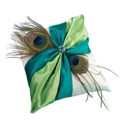 """Lillian Rose™ 7"""" x 7"""" Peacock Feather Ring Pillow, Green/Teal/Blue"""