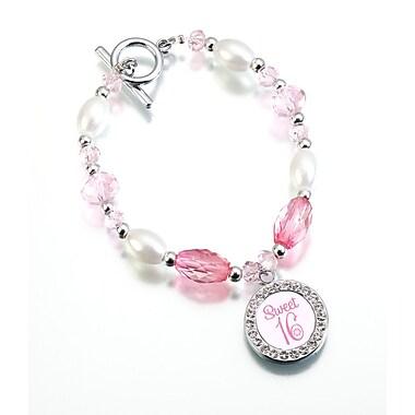 Lillian Rose™ Sweet Sixteen Frame Charm Bracelet, Pink