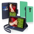 Insten® Heavy Duty Durable Protective Case For Card Slot/Lanyard For LG G2, Green/Blue