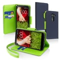 Insten® Stand Case With Card Slot For LG G2, Blue/Neon Green