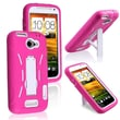 Insten® Hybrid Case With Stand For HTC One X, White/Pink