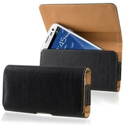 Insten® Horizontal Wallet Case With Clip For HTC One M7, Black/Brown