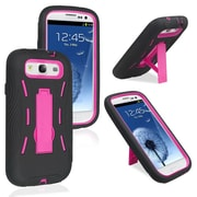 Insten® Hybrid Case With Stand For Samsung Galaxy S3, Hot Pink/Black