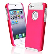 Insten® Hybrid Case For iPhone 5/5S, White/Hot Pink