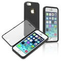Insten® Book Case For iPhone 5/5S, Black/Clear Frosted Cover