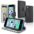 Insten® Stand Wallet Case For iPhone 5C, Black