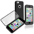 Insten® Book Case For iPhone 5C, Black/Clear Frosted