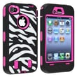 Insten® Hybrid Case For iPhone 4/4S, Hot Pink/Black White Zebra