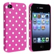 Insten® Snap-In Case For iPhone 4/4S, Pink With White Dot