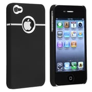 Insten® Snap-In Case With Chrome Hole Rear For iPhone 4/4S, Black