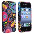 Insten® Skin Case For iPhone 4/4S, Black/Colorful Fish and Circles
