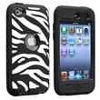 Insten® Hybrid Case For iPod Touch® 4, Black/White and Black Zebra Skin