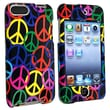 Insten® Snap-In Case For iPod Touch® 2nd/3rd Gen, Black Rainbow Peace Sign