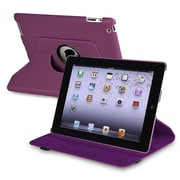 Insten 723216 Synthetic Leather Swivel Case for Apple iPad 2/3/4 Tablet, Purple