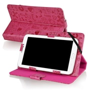 "Insten® Stand Case For 7"" Tablet, Hot Pink Cute"