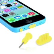 Insten® Headset Dust Cap With SIM Card Eject Pin, Yellow