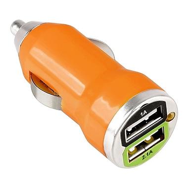 Insten® 2 Port USB Mini Car Charger Adapter, Orange