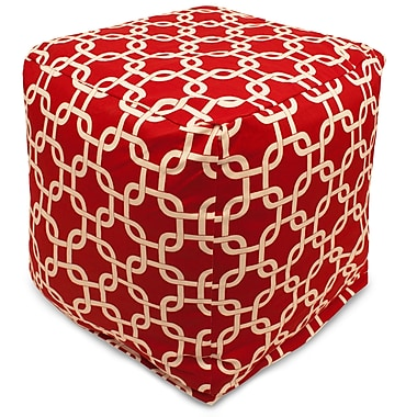 Majestic Home Goods Indoor Poly/Cotton Twill Links Small Cube, Red/White