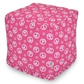 Majestic Home Goods Indoor Poly/Cotton Twill Peace Small Cube, Hot Pink/White