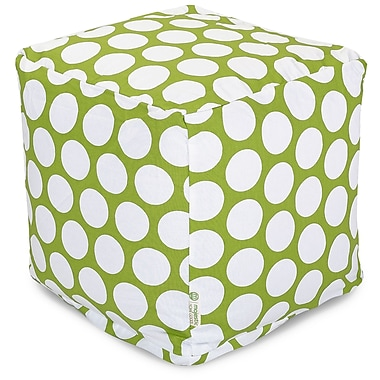 Majestic Home Goods Indoor Poly/Cotton Twill Polka Dot Small Cube, Hot Green/White