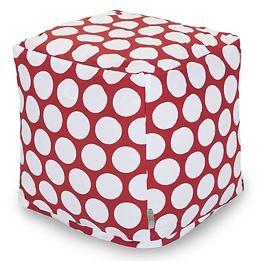 Majestic Home Goods Indoor Poly/Cotton Twill Polka Dot Small Cube, Red Hot/White