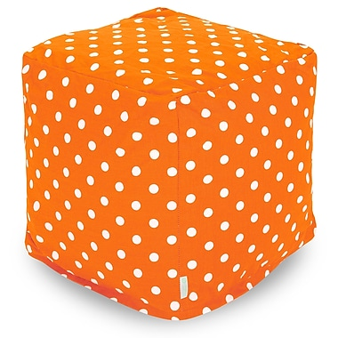 Majestic Home Goods Indoor Poly/Cotton Twill Polka Dot Small Cube, Tangerine/White