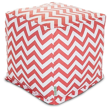 Majestic Home Goods Indoor Poly/Cotton Twill Chevron Small Cube, Coral/White